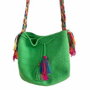 HOST PICK Handmade Mochila Neon Green Boho Bag